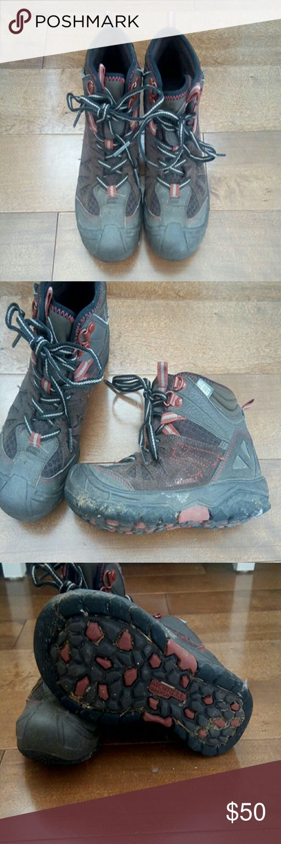 Merrell boys hiking boots Merrell boys hiking boots. Ankle height, laces in tact, tread is still very good condition. Waterproof! Size 13M. Purchased at REI last winter. Great for soggy spring hiking! Merrell Shoes Rain & Snow Boots