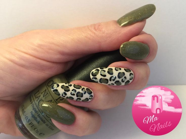 Olive green has been topped with subtle gold holographic glitter and used  alongside mixed silver and gold glitters on cream leopard print accent nails . - Best 25+ Leopard Print Nails Ideas On Pinterest Pink Cheetah