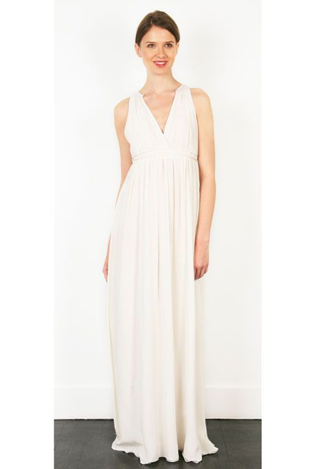 "Brides.com: Wedding Dresses We Love For Under $1,000. This breezy silk crepe sheath is begging to be worn at a destination beach wedding.  ""Ariel"" V-neck crinkled silk crepe wedding dress, $480, Thread  See more Thread wedding dresses."