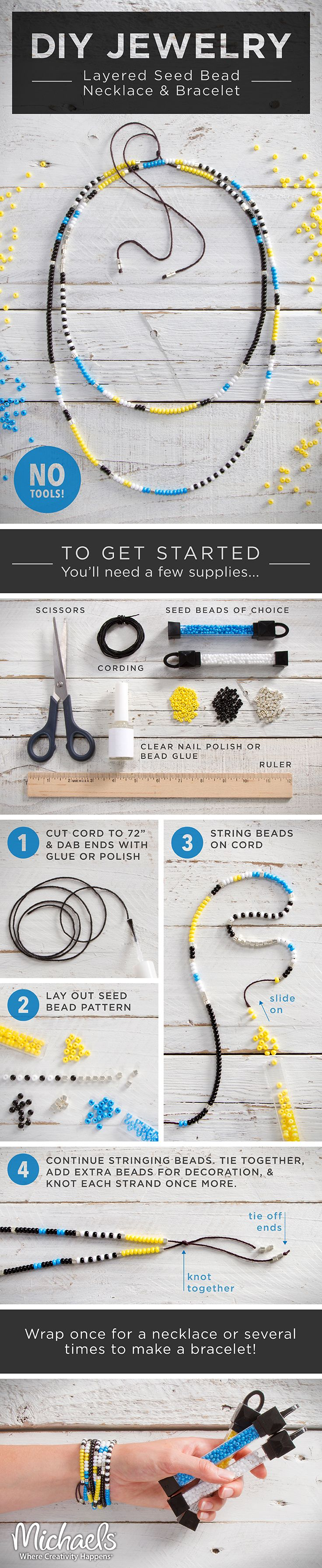 String colorful seed beads to make this easy DIY layered necklace and bracelet set.