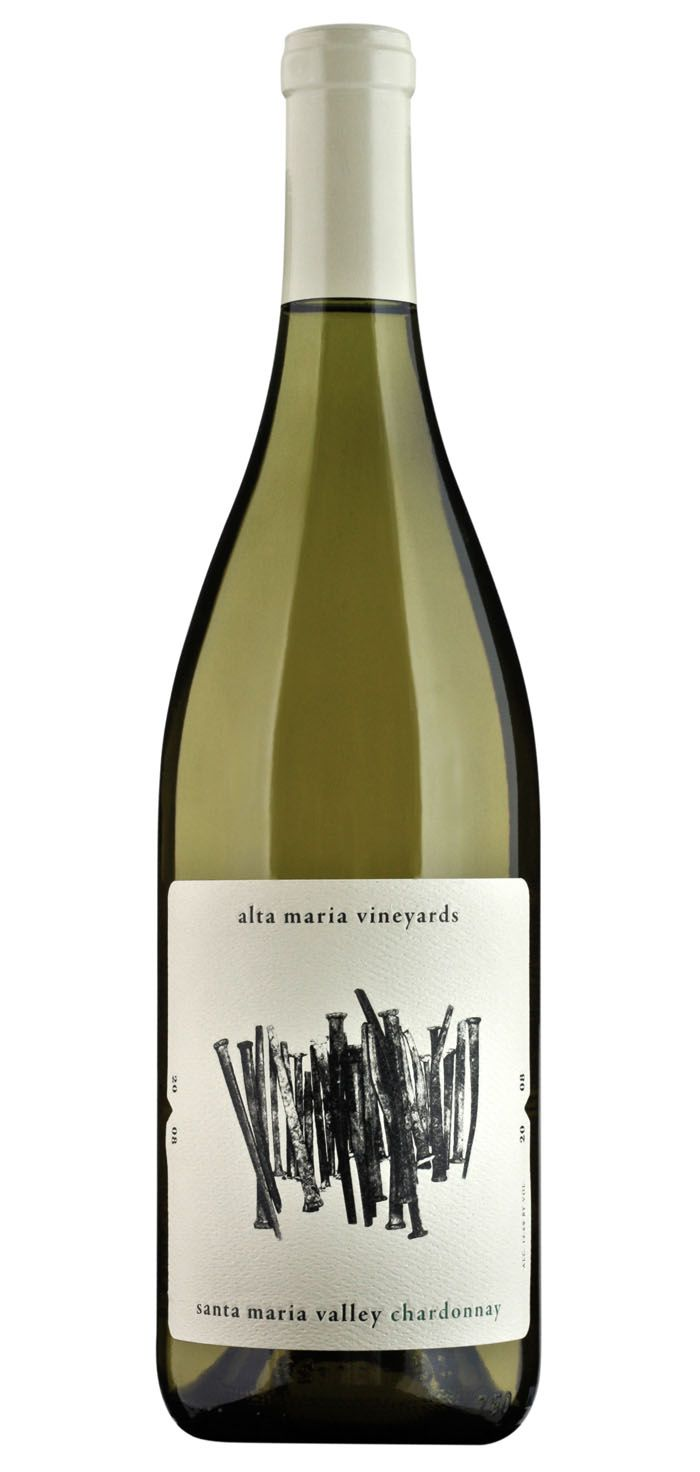 """""""The artwork for Alta Maria Vineyards features hand-hewn iron nails used by homesteaders in Santa Maria before the Industrial Revolution introduced mass-produced, machine-cut nails. Despite its lowly function, each nail is unique from the next according to the conditions in which it was made and the expertise of the craftsman."""""""