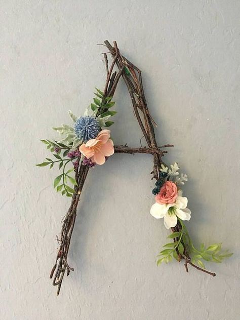 Woodland Nursery Letter, Twig Letter, Twig Monogram, Rustic Wall Letter, Rustic Letter, Baby Girl Nursery, Woodland Nursery, Fairy Decor – Muradiye Sezer