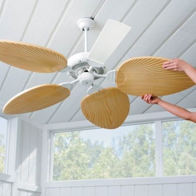 Palm-Leaf Ceiling Fan Blades-Set of 5 they go over your existing blades