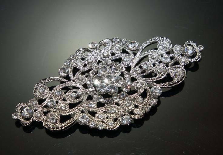 "4.5"" rhombus vintage rhinestone crystal wedding bridal craft brooch sparkle supply. $17.99, via Etsy."