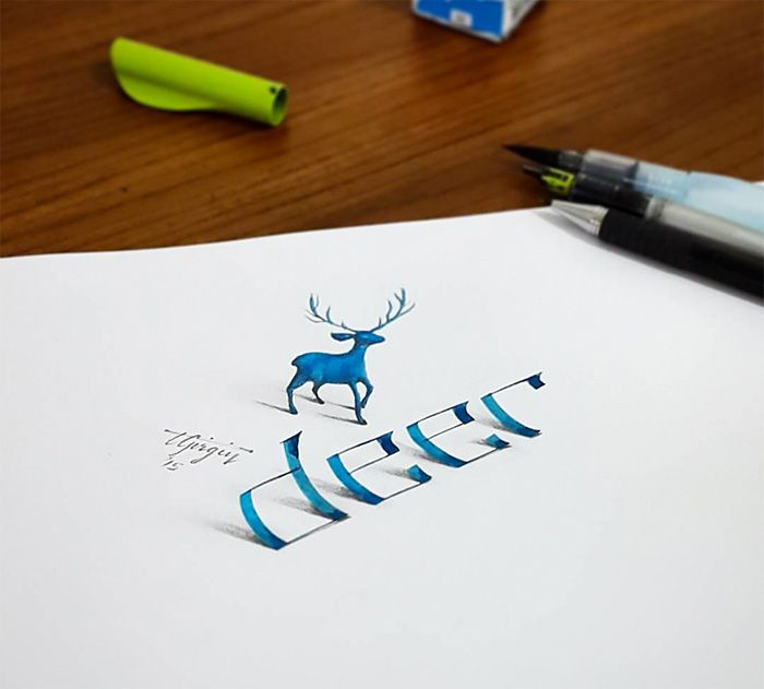 Previously featured Tolga Girgin, a Turkish electrical engineer and graphic designer, continues to create stunning 3D calligraphy pieces. By experimenting with perspective and shading, Girgin's colorful pieces seem to be ready to peel off the page at any time!