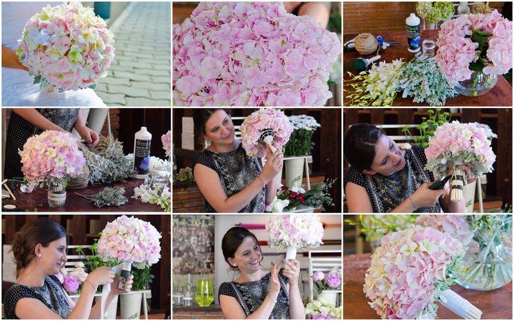 Buchet de hortensie roz cu orhidee dendribium. Filmarea integrala se gaseste pe Dvd-ul cu tutoriale despre realizarea buchetelor de mireasa.