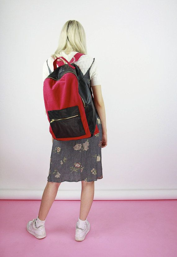 90s Large Red Canvas and Leather BackPack by BirdOnAWireVintage