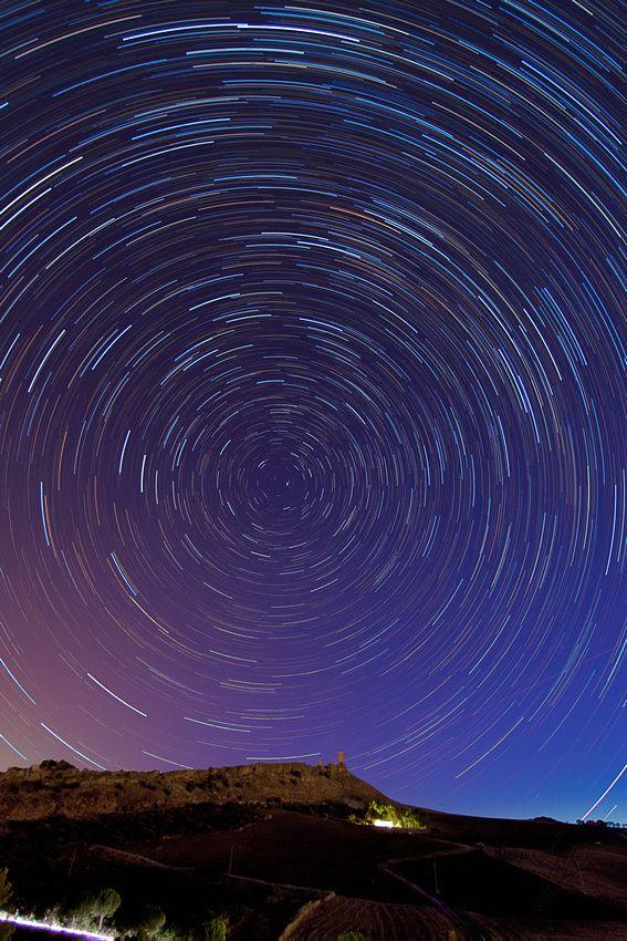 star trail over Cefalà Diana Castle