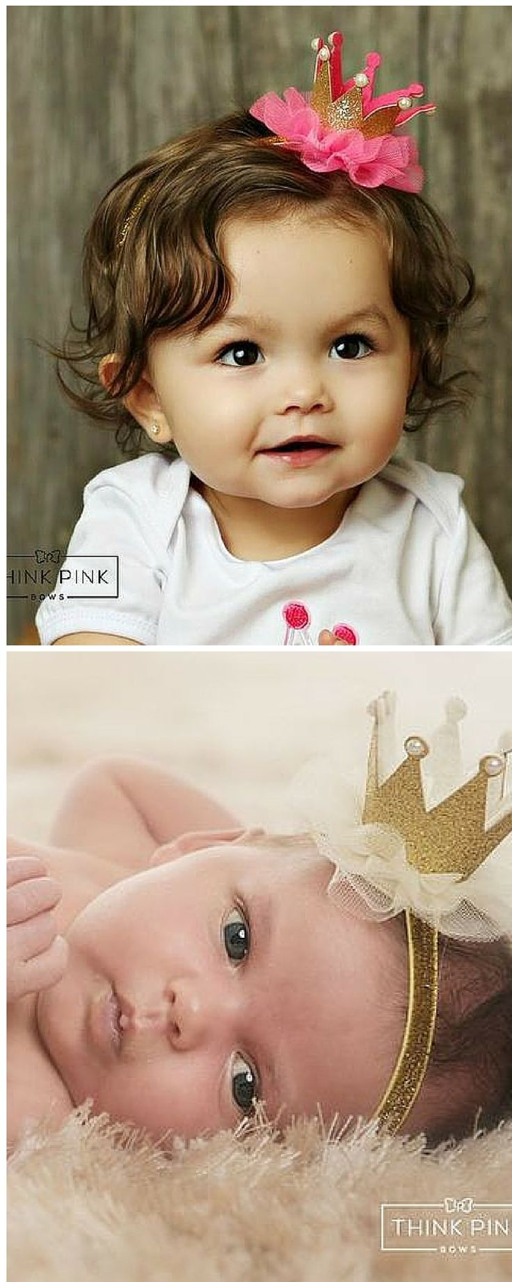 Happy birthday Princess! This  headband features a gold sparkly glitter foam crown accented with pearls and placed on ruffled tulle. It backed on felt for extra comfort and then attached to a soft and stretchy elastic headband. Explore hairbands for  newborn babies at http://thinkpinkbows.com/collections/petite-headbands/products/royal-majesty-glitter-crown-headband-6-colors-available?variant=15841025603 | Kids Fashion