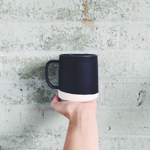 **Made to order Listing** Ships in 2-3 weeks  This listing is for one Danish inspired handmade coffee mug in Black. The size of these mugs