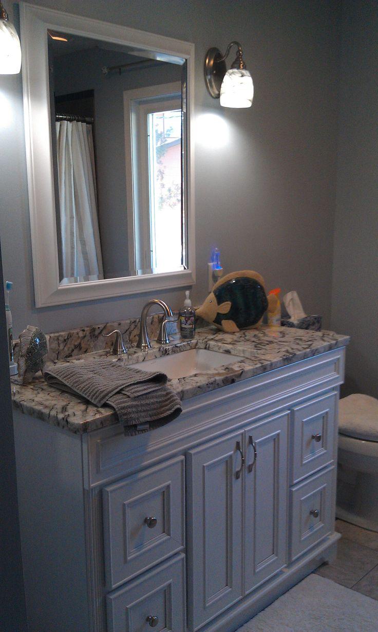 Gray and blue bathroom | Small bathroom redo, Blue ...