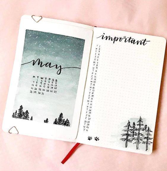 20 monatliche Layouts für Ihr Bullet Journal – Ideen und Anregungen – #bullet #ideas #inspiration #journal #layouts