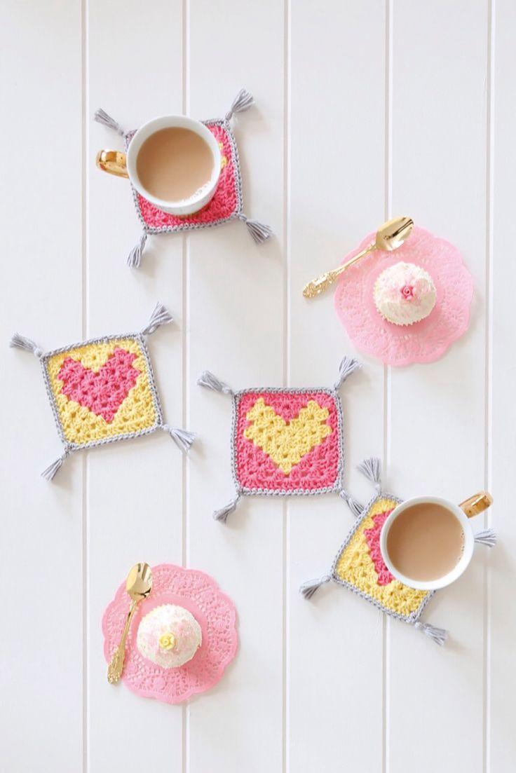 Crochet heart coasters in Mollie Makes 75
