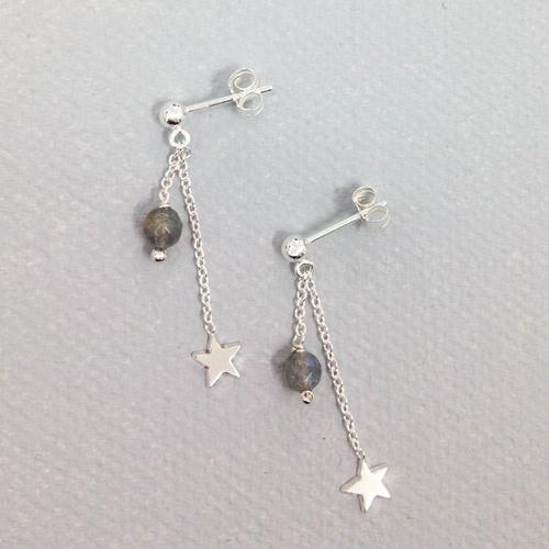 Boucles d'oreilles étoilées - argent et labradorites - 39€