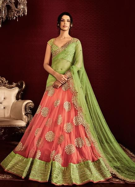 Light Green and Peach Embroidered Lehenga