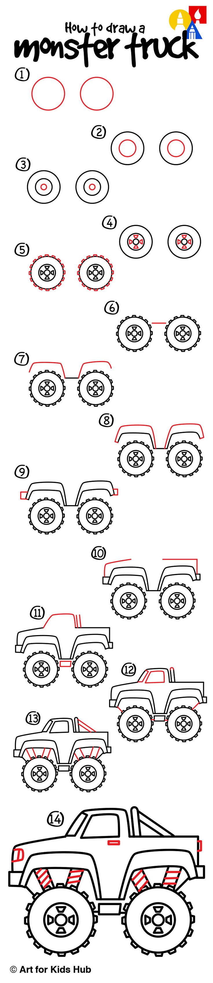 Learn how to draw a monster truck with these simple steps, just for kids. Watch the short video and follow along to draw your own.