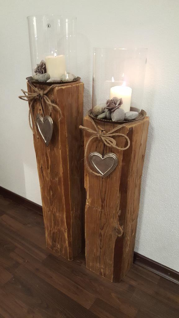Schlichte Eleganz hält mit diesem Windlicht in Ihrer Heimdekoration Einzug. Das schnörkellose…,Windlicht Holz Laterne Kerze Holzbalken Glas Natur-Holz-Design in Bayern – Waldkraiburg