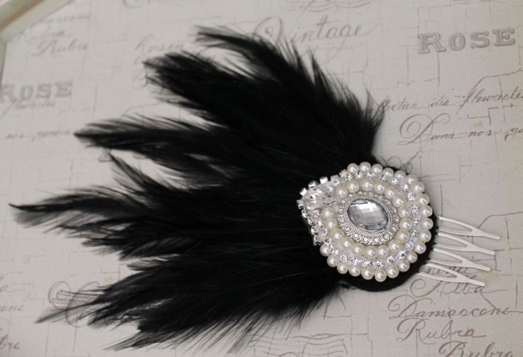 Handmade feather headdress Fascinator wedding headpiece vintage style 1920s flapper style black.. £29.00, via Etsy.