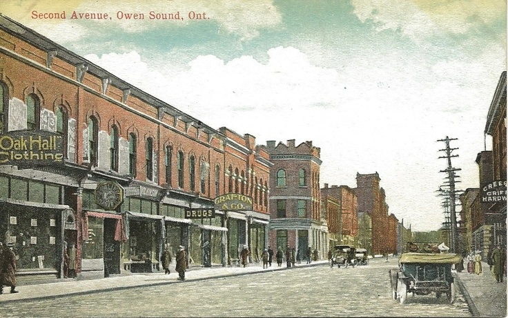 c.1910 Postcard of Second Avenue, Owen Sound, Ontario, Canada.