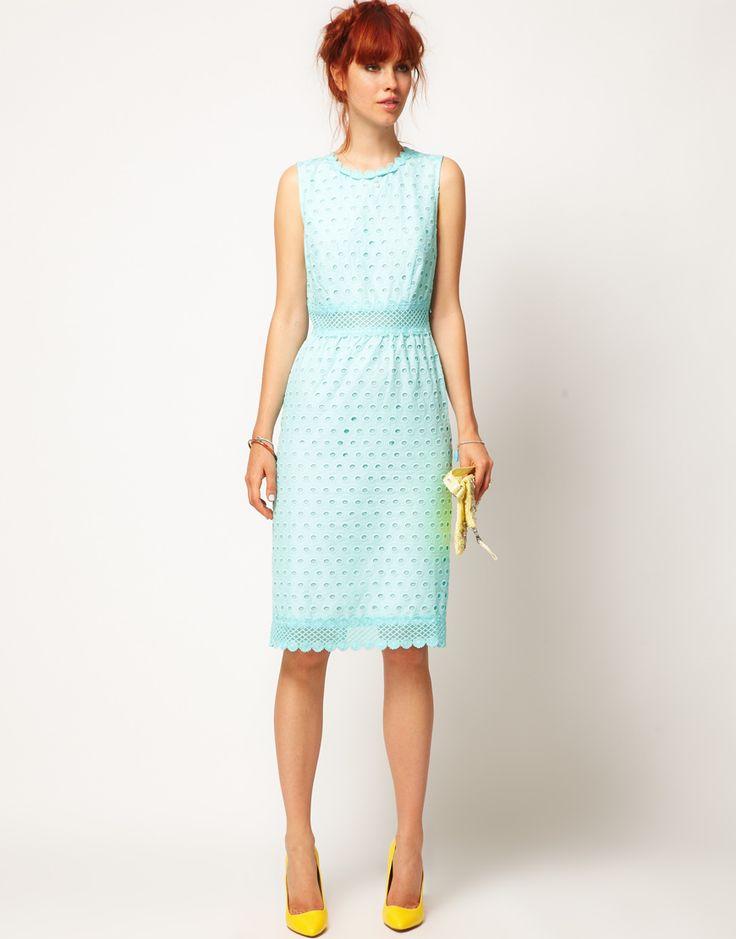 ASOS SALON Pencil Dress with Anglaise