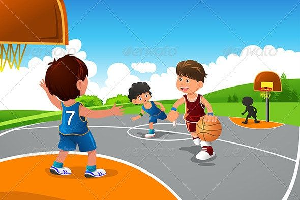 Kids Playing Basketball In A Playground Ad Playing Sponsored Kids Playground Basketball Kids Playing Boys Playing Kids