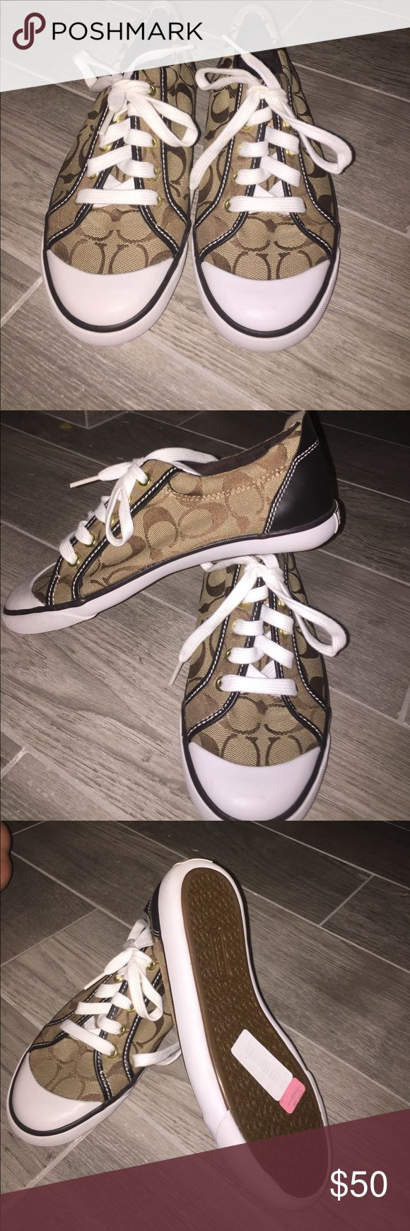 Coach tennis shoes Brown and tan coach tennis shoes - Brand new never worn Coach Shoes Sneakers