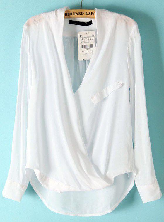 White+Long+Sleeve+Front+Cross+Dipped+Hem+Blouse+US$15.00
