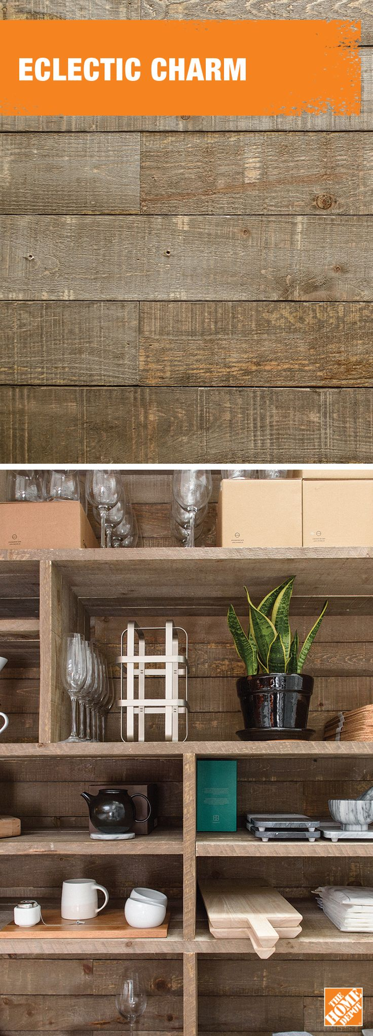 Add some charm to your space with an open faced barn board storage unit.Learn more at homedepot.ca.