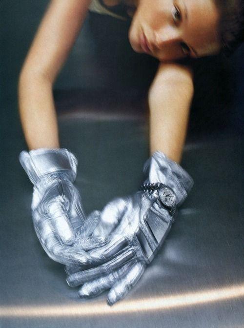 """""""Silver"""", Harper's Bazaar US, September 1998 Photographer: Raymond Meier Model: Bridget Hall"""