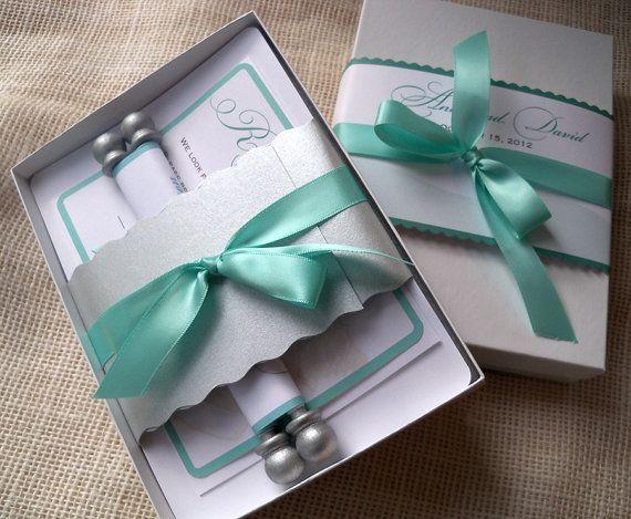 Wedding Invitation Suite, Weddings, Invitations, Boxed Scroll Wedding Invitation Suite, Conch Shell {100}