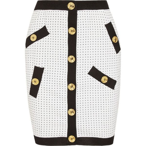 Boutique Moschino Polka-dot knitted mini skirt ($495) ❤ liked on Polyvore featuring skirts, mini skirts, white, polka dot mini skirt, white mini skirt, pull on skirt, mini skirt and short skirts