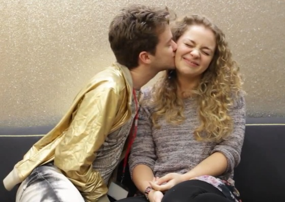 Alex Day (nerimon) kisses Carrie Hope Fletcher (Itswaypastmybedtime). I'm really sad they broke up. If you don't believe they were even together go check out Carrie Hope Fletchers new video.