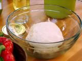Homemade pizza dough. This dough is SUPER easy to make and it tastes much better than the dough you get at the grocery store or Trader Joes.    My daughter loves helping to make it and enjoys seeing it rise.