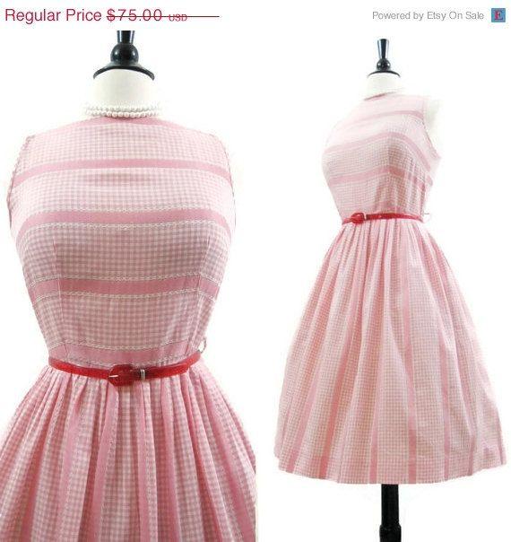 REDUCED 50s Dress Vintage Pink Gingham Stripe Full by voguevintage