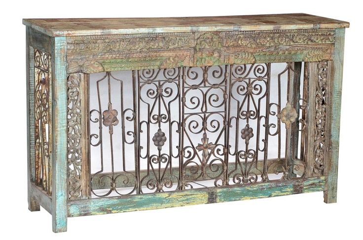 Original Carvings and Ironwork with Reclaimed Teak Wood Console