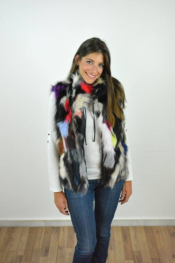 Real Fox Fur Vest made with genuine Fox fur Women sleeveless