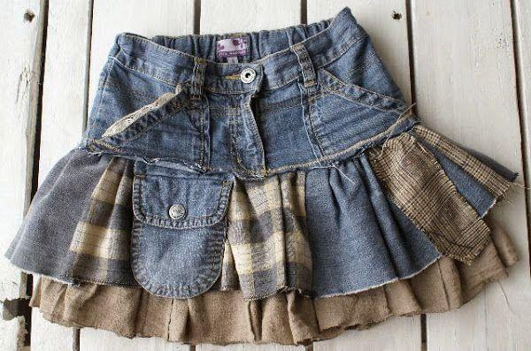 ¡Aprovecha la ropa de los niños! Haz una falda para niña con unos vaqueros reciclados.