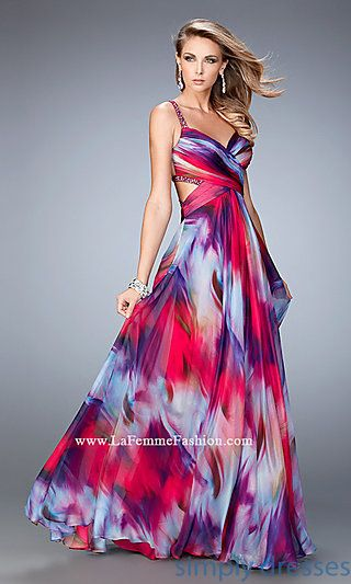 La Femme Multi Color Print Backless Long Dress