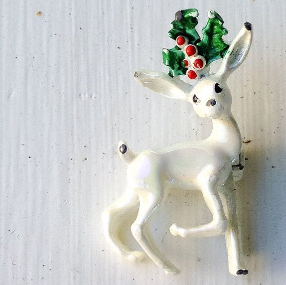 Vintage Hand Painted Shimmery White Deer Brooch with by MsMaude