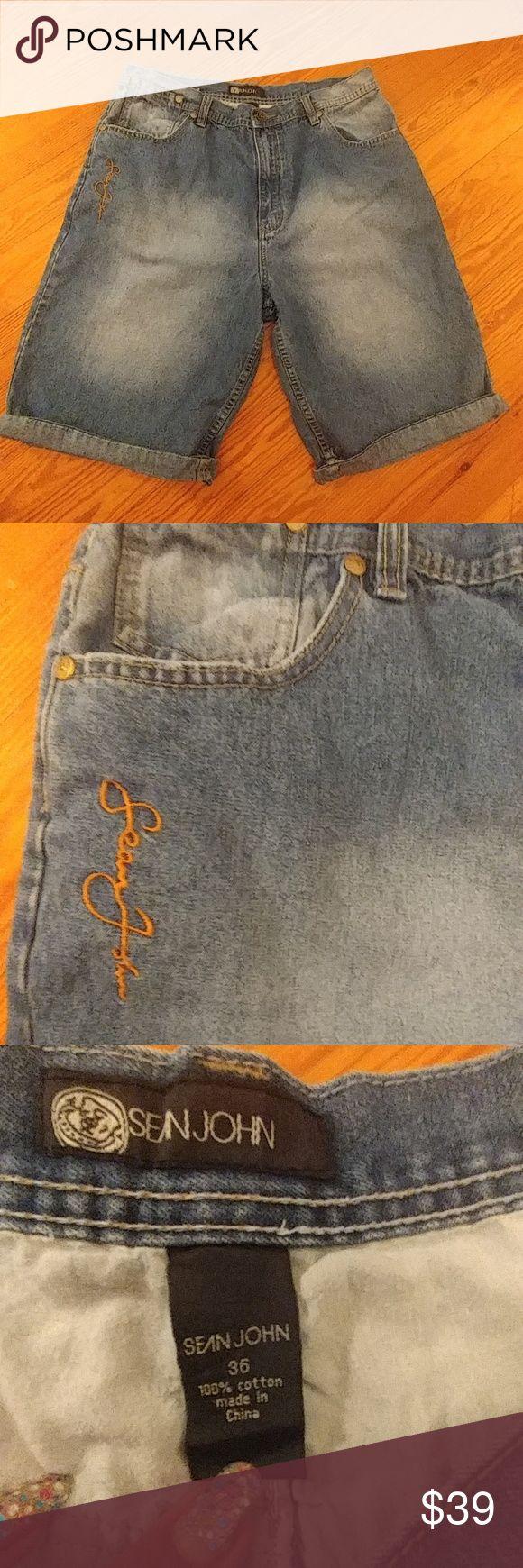 Sean Jean Denim Shorts Stonewashed. 100% cotton. Approx 17in waist flat. Approx 12 in inseam. Good condition! Sean John Shorts