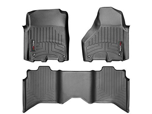 2012-2016 Dodge Ram 1500-Weathertech Floor Liners-Full Set (Includes 1st and 2nd Row)-Crew Cab; Vehicles with Hooks On Driver and Passenger Side-Black - Description: Protect your investment and get superior all-season protection with WeatherTech Extreme Duty Floor Liners. Custom-molded to fit your floors perfectly, these innovative floor liners work hard to protect your vehicle�s floors from moisture, muck, and anything else you can dish o...