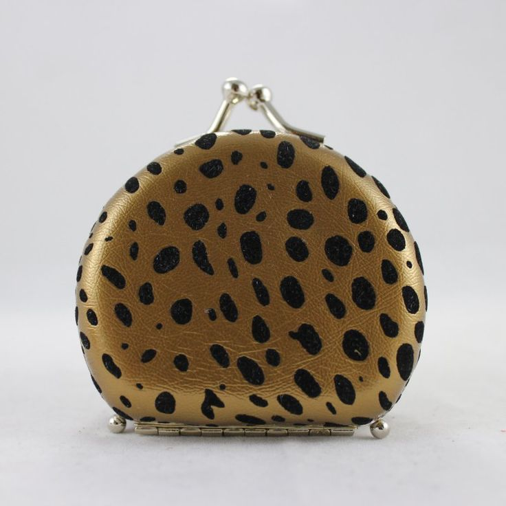Round Leopard Print Jewelry Travel Case - Gold - 2.6L x 2.2W in. - JYW22707GD