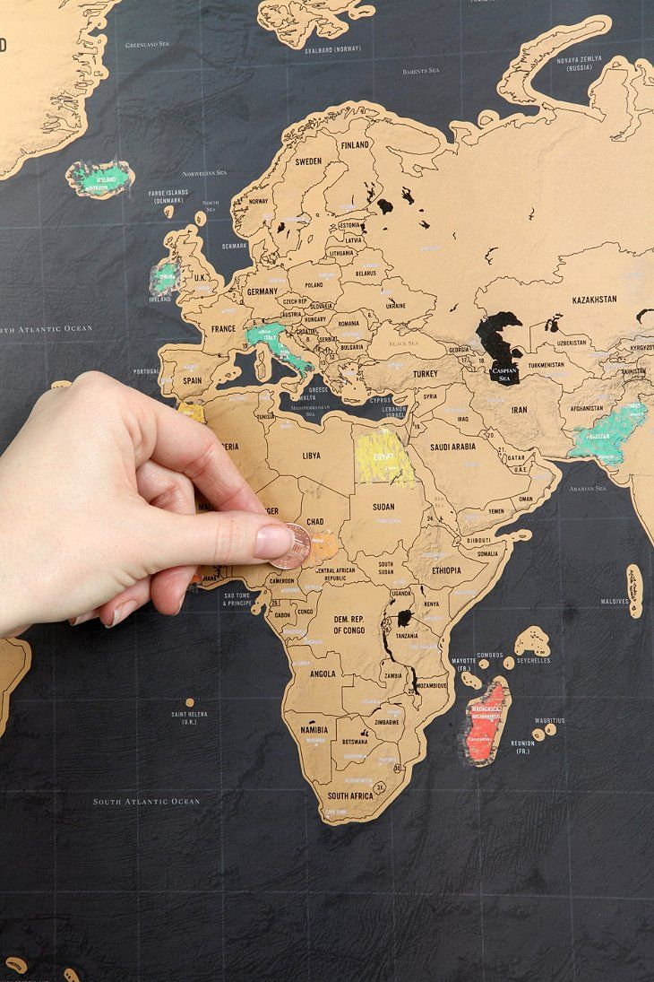 Detailed world map topped with a scratch-off foil surface so you can show off the places you've visited (or keep track of where the treasure...