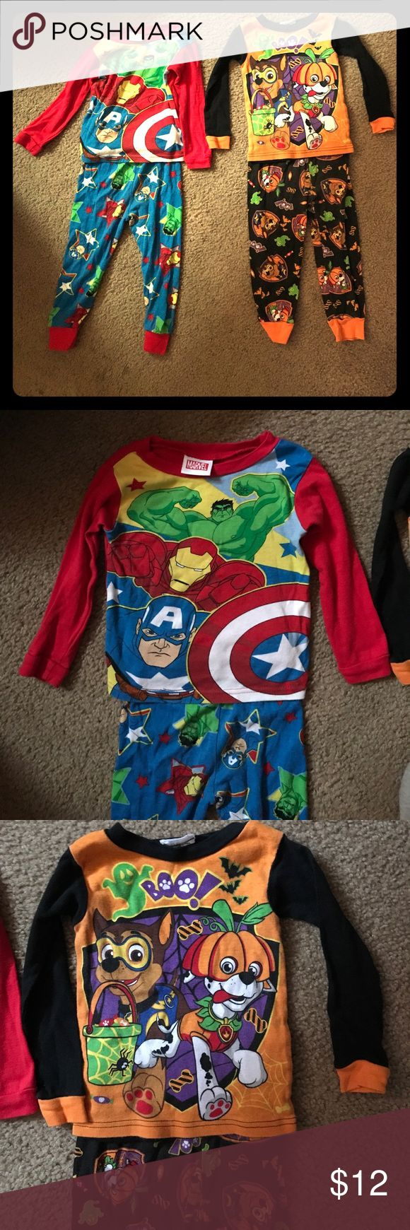 2 set of boys 3T pajamas. Both are size 3T. One is Marvel superheroes and one is Paw Patrol Halloween. Both pants and long sleeve shirts. Pajamas Pajama Sets