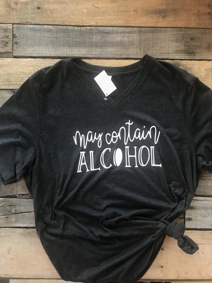 May Contain Vodka  Heather Black Bella Canvas Graphic T-Shirt