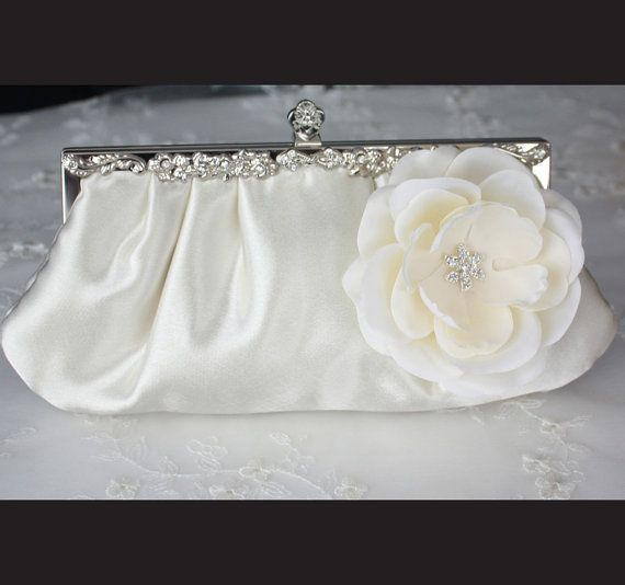 Ivory satin Bridal Clutch Purse with flower  New by WearableArtz, $69.00