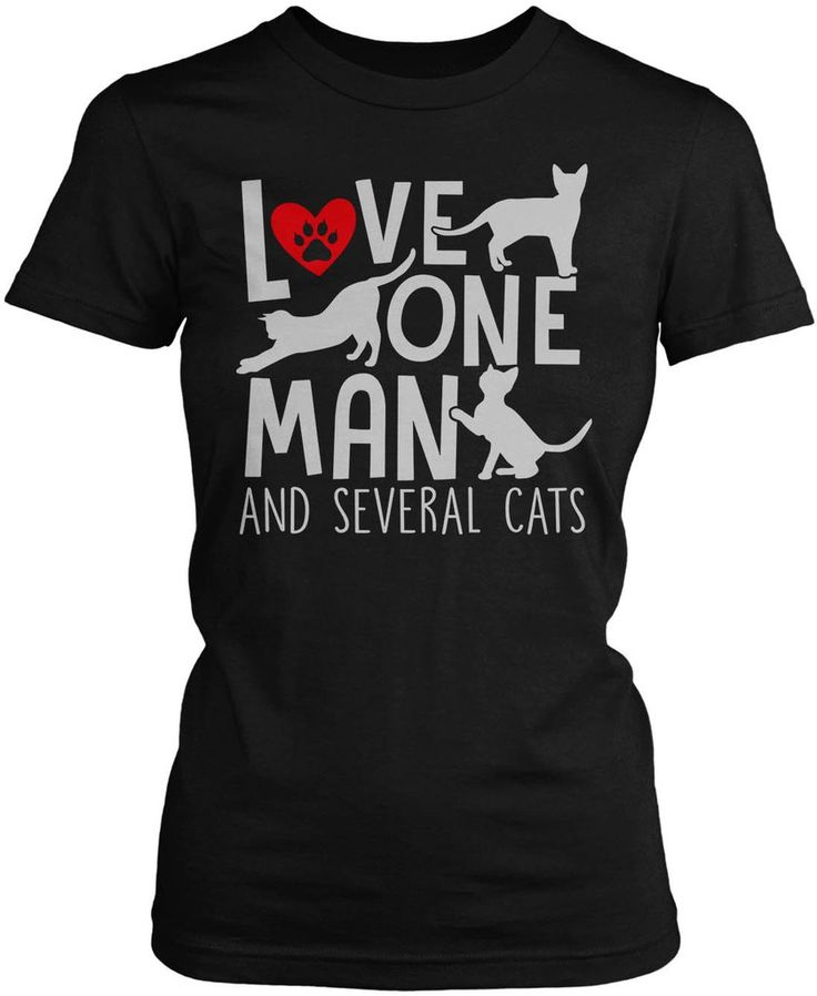 Love One Man and Several Cats! Is this the secret to a happy life? The perfect t-shirt for any faithful cat lover. Order here - https://diversethreads.com/products/love-one-man-and-several-cats