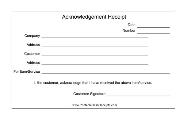 These acknowledgement receipts are basic templates that are great as proof of reception for items, services or property. Free to download and print