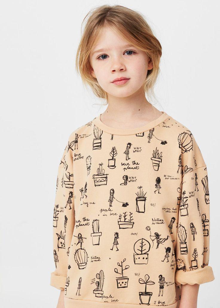 Βαμβακερό φούτερ με σχέδια | MANGO KIDS