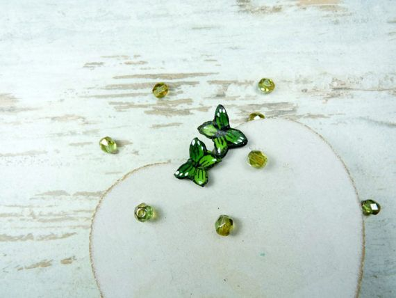 small green butterflyhandmade polymer clay by KAMELEONjewelryART